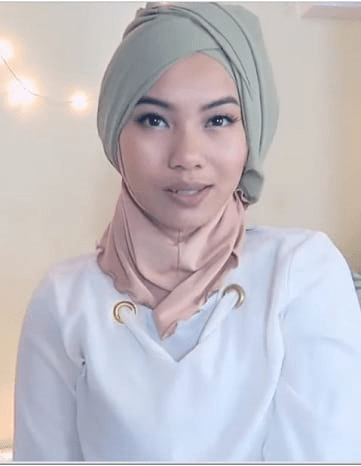 Turban hijab style with neck coverage
