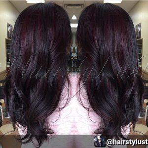 موضة ألوان صبغات الشعر - صبغة شعر اسود وخصل احمر